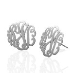 Sterling Silver Monogram Interlocking Stud Earrings