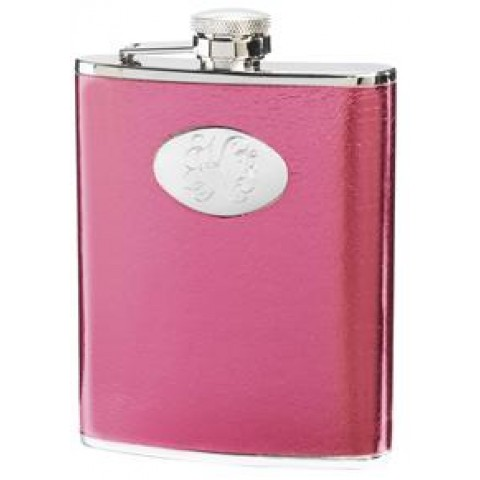 Temptation Hot Pink Synthetic Leather 6oz Flask