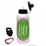 Green/Pink Circle Name Water Bottle