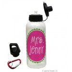 Pink/Green Circle Name Water Bottle