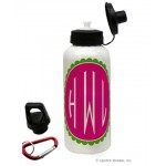 Pink/Green Circle Mono. Water Bottle