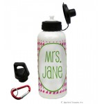 Pink Houndstooth Water Bottle