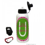 Green/Pink Mono. & Name Water Bottle