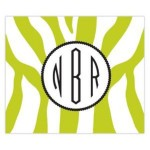 Funky Lime Zebra Monogram Personalized Mousepad