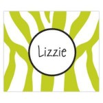 Funky Lime Zebra Name Personalized Mousepad
