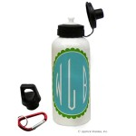 Blue/Green Circle Mono. Water Bottle