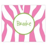 Funky Pink Zebra Name Personalized Mousepad