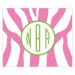 Funky Pink Zebra Monogram Personalized Mousepad