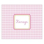 Pink Preppy Houndstooth Personalized Mousepad