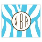 Funky Blue Zebra Monogram Personalized Mousepad