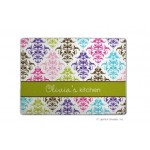 Damask Multicolor Ribbon Personalized Cutting Board